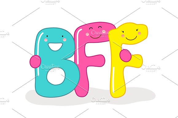 Cute Smiling Cartoon Characters Of Letters BFF