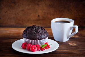 Chocolate muffin with red berries