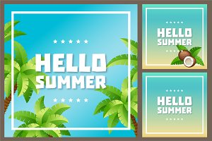 Hello Summer vector cards