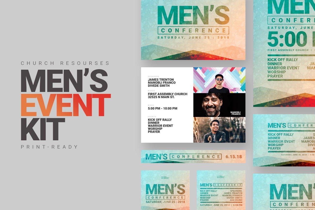 men 39 s church event kit postcard templates creative market. Black Bedroom Furniture Sets. Home Design Ideas