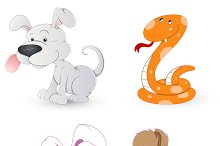Cartoon Dog, Rabbit, Snake and Squir
