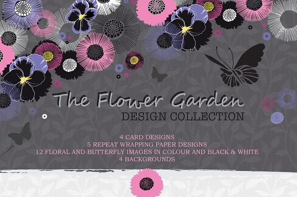Flower Garden Floral And Butterfly
