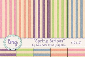 Spring Stripes Scrapbook Paper