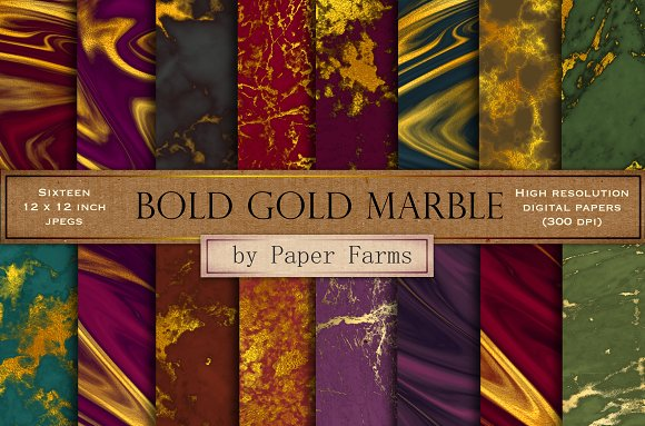 Bold Gold Marble Digital Paper
