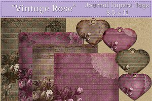 Vintage Rose Journal Paper