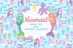 Mermaids and sea life. Vector set.