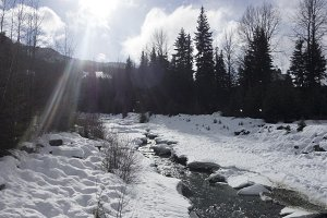 Winter stream between mountain snow