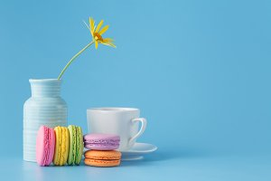 French colorful macaroon with flower