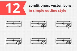 12 conditioners vector icons