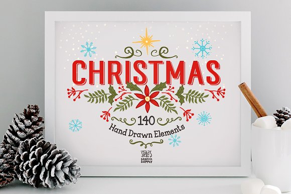 Christmas Holiday White Frame Image in Product Mockups - product preview 1