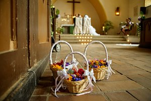 wedding flower basket in church