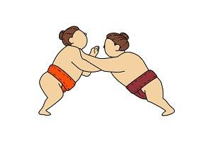 Rikishi Sumo Wrestler Pushing