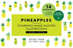 Pineapple Watercolor Illustrations