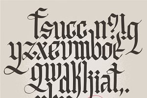 Historic Gothic handwriting. Abc