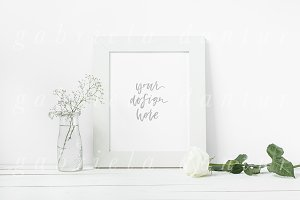 White Rose Frame Mockup