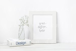 Book Flower Artwork Frame Mockup