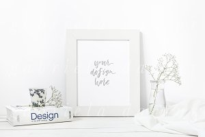 White and Blue Artwork Frame Mockup