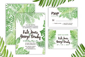 Tropical Watercolor Wedding Suite
