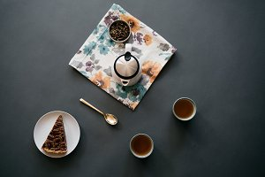 Coffee & Dessert Flat Lay