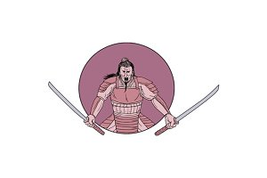 Raging Samurai Warrior Two Swords