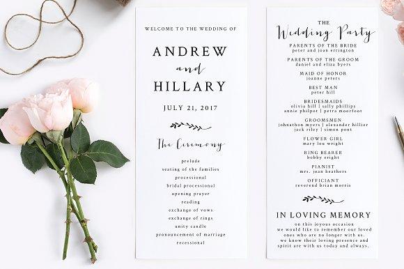 wedding program editable pdf invitation templates creative market