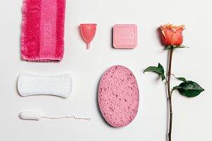 Feminine intimate hygiene set over white background