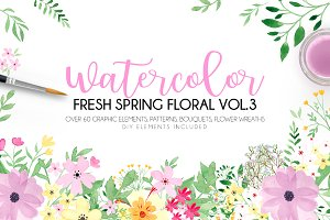 Watercolor fresh spring floral vol.3