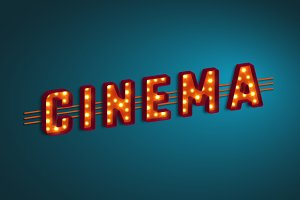 3d retro cinema sign.
