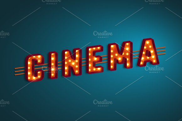 3D Retro Cinema Sign