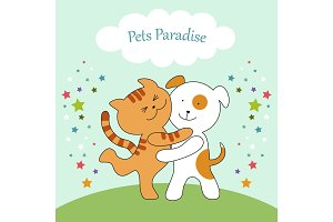 Cute card with cat and dog harmony