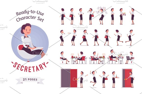 Ready-to-use Young Female Secretary Character Set Various Poses And Emotions