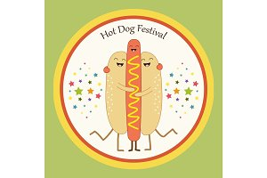 Cute Hot Dog flyer as smiling characters of buns and sausage hugging each other