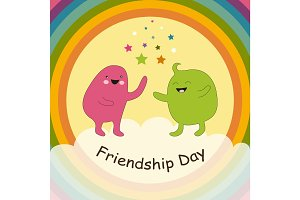 Cute Friendship Day card as two smiling doodle characters