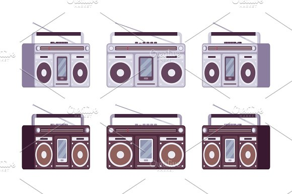 Boombox Set In Grey And Black Color
