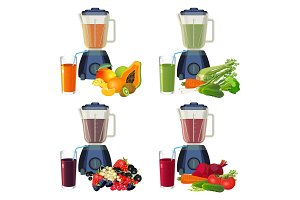 Blender and glass of smoothie organic fruits and vegetables set.
