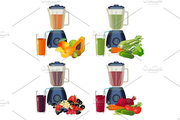 Blender And Glass Of Smoothie Organic Fruits And Vegetables Set