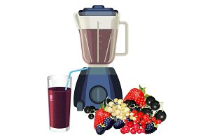 Blender and glass of smoothie made of healthy fruits vector