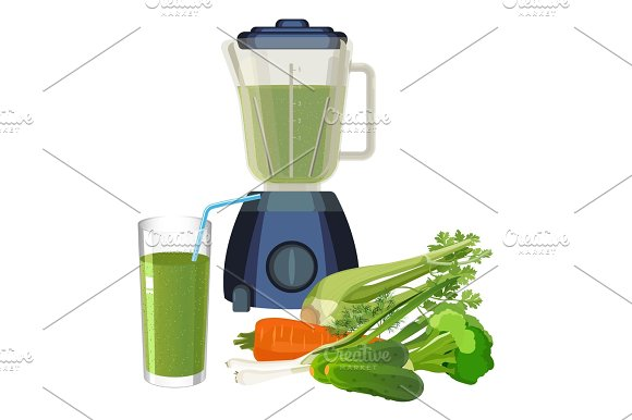 Blender And Glass Of Smoothie Made Of Organic Vegetables Vector