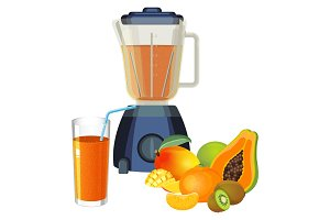 Blender and glass of smoothie made of tropical fruits vector