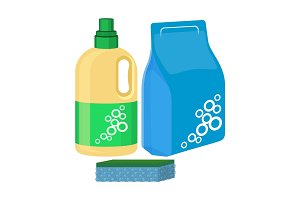 Bleach bottle with sponge, package of washing powder, detergent vector