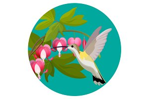 Bleeding heart flowers and hummingbird isolated realistic vector illustration