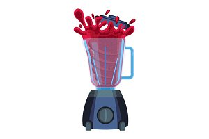 Blender with red splashes of cherry or strawberry juice vector