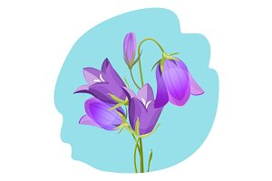 Viola violet flowering plant realistic vector illustration isolated
