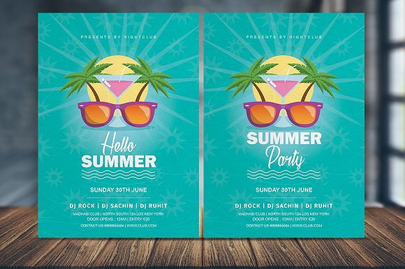 vintage summer party flyer template flyer templates creative market
