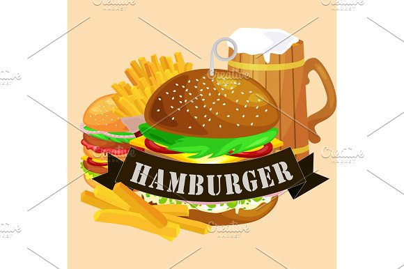 Set Of Tasty Burgers Grilled Beef And Fresh Vegetables Dressed With Sauce Bun For Snack American Hamburger Fast Food Meal French Fries With Cold Bear Brown Ice Drink Vecor Illustration Background