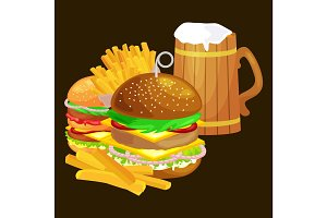Set of tasty burgers grilled beef and fresh vegetables dressed with sauce bun for snack, american hamburger fast food meal French fries with cold bear brown ice drink vecor illustration background