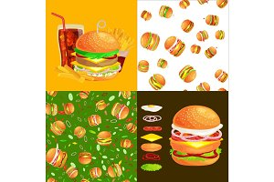 Set of burger grilled beef and fresh vegetables dressed with sauce bun for snack, american hamburger fast food barbecue meat meal with bread tomato cheese, Hamburger vecor illustration background
