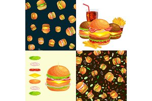 Set of burger grilled beef and fresh vegetables dressed with sauce bun snack, american hamburger fastfood barbecue meat meal Hamburger with detailed flying slices menu ingredients vecor illustration