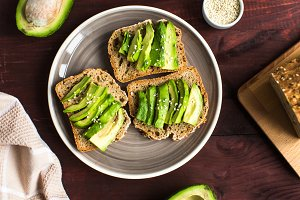 useful toast with avocado