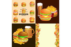 Set of burger grilled beef and fresh vegetables dressed with sauce bun snack american hamburger fastfood barbecue meat meal Hamburger with detailed flying slices of menu ingredients vecor illustration